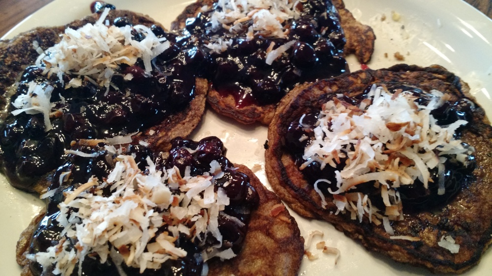 oatmeal banana blueberry topped pancakes